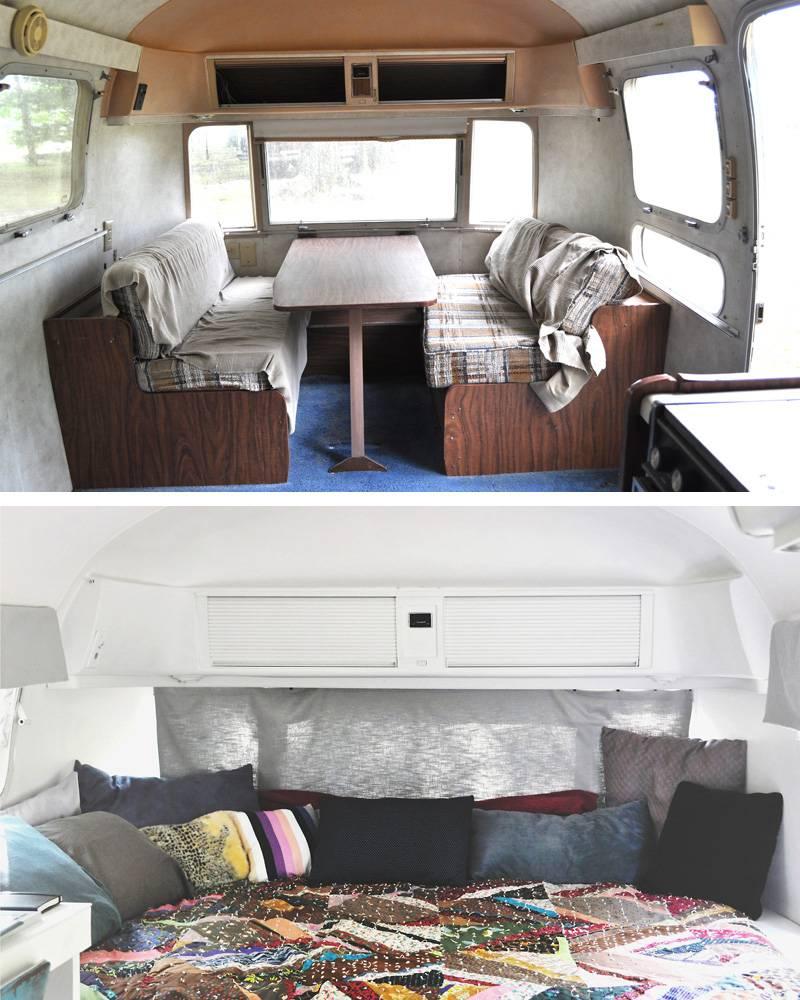 Le lit avant et après, à droite quand on entre à l'intérieur de l'Airstream.