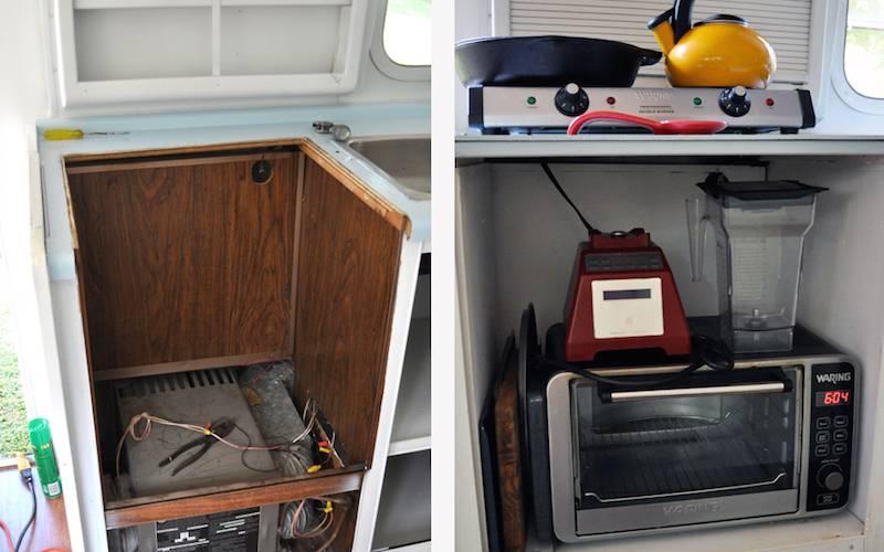 La cuisine de l'Airstream avant et après rénovation.