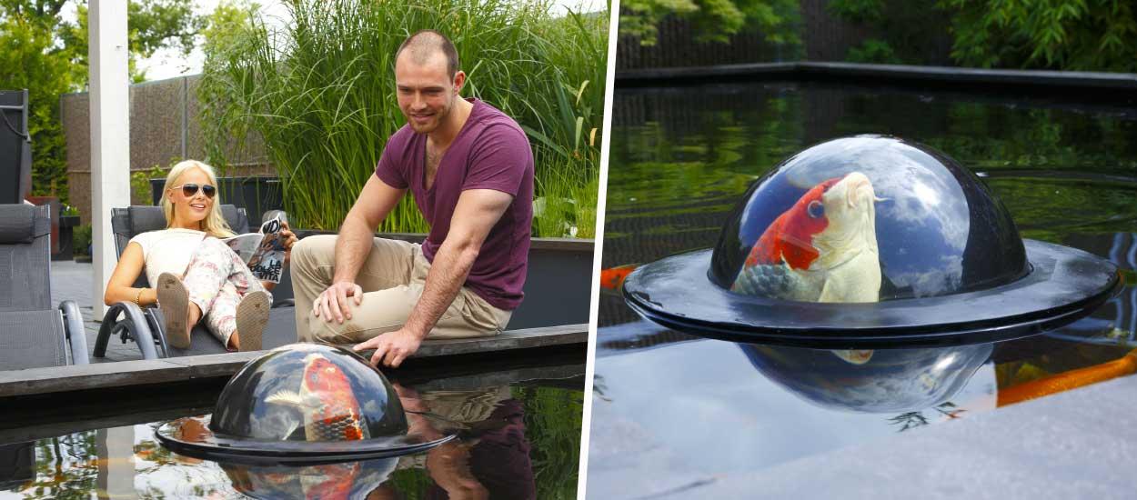 Ces dômes flottants permettent aux poissons d'observer hors de leur bassin