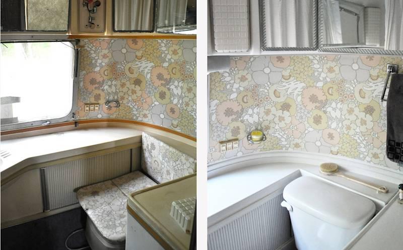 La déco des années 1970 restaurée dans les toilettes de l'Airstream.