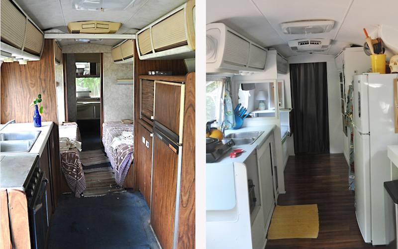 L'intérieur de l'Airstream avant et après rénovation.