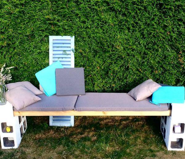 DIY : Fabriquer un banc de jardin avec des parpaings