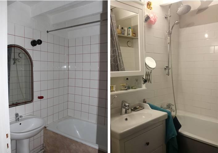 La salle de bain avant et après.