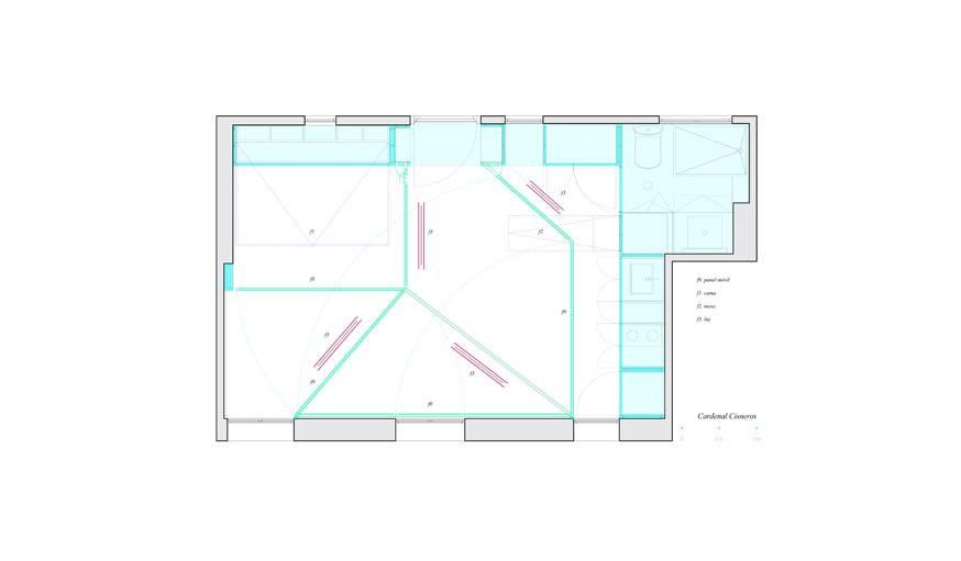 Sur ce plan on peut voir l'espace réservé aux rangements et l'agencement de la salle de bain.