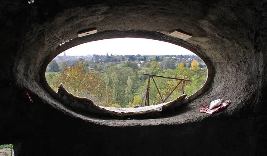 Vue depuis la maison bulle de Philipe Delage, le 8 octobre, à Montgivray (Indre).