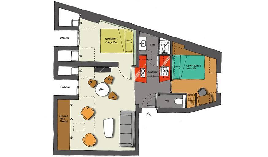 Le plan de l'appartement après travaux, dessiné par l'architecte.