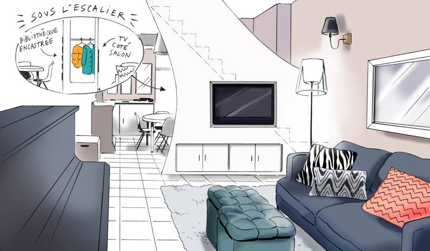 Un escalier au milieu du salon : comment l\'optimiser ? - Des ...