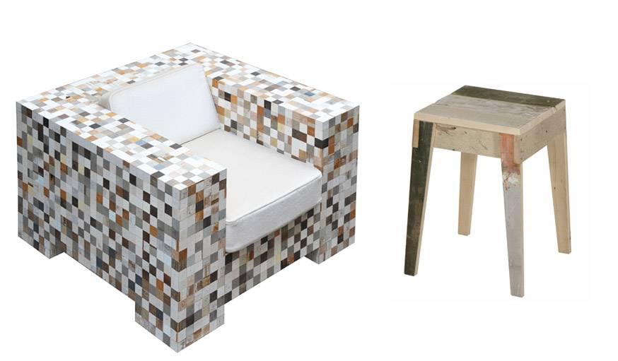 Fauteuil issu de la collection waste waste 40x40 et un tabouret réalisé avec du bois récupéré.