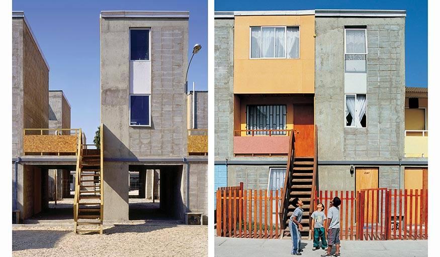 """Logements de Quinta Monroy à Iquique (Chili). À gauche : Un exemple de """"half of a good house"""" (maison à moitié terminée). À droite : Un exemple de standard de la classe moyenne atteint par les résidents. Réalisation Alejandro Aravena, livraison 2004."""