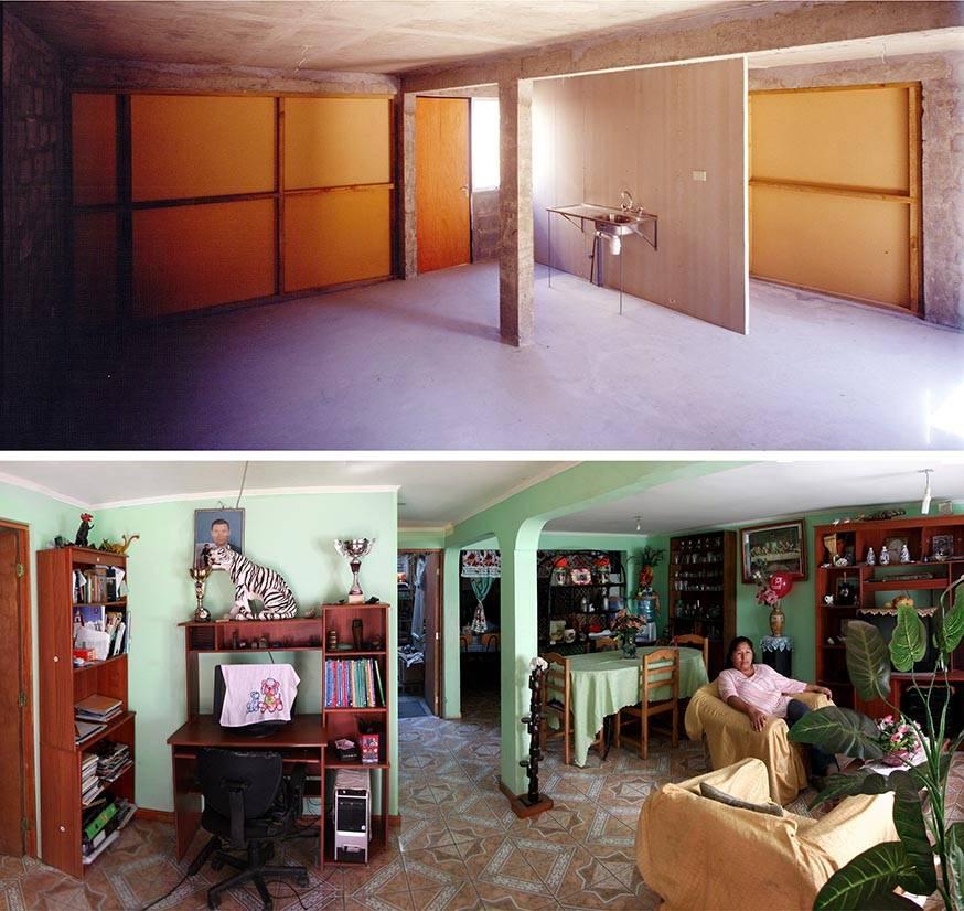 """Logements de Quinta Monroy à Iquique (Chili). En haut : Un exemple de """"half of a good house"""" (maison à moitié terminée). En bas : Intérieur d'une """"good house"""" aménagée, au standard de la classe moyenne, par les résidents. Réalisation Alejandro Aravena, livraison 2004."""