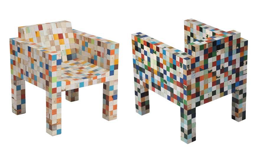 Deux fauteuils issus de la collection waste waste 40x40.