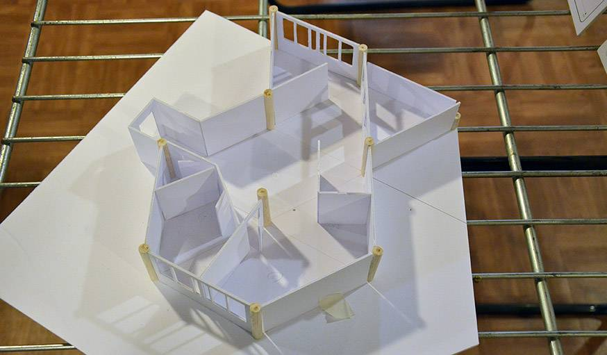 Maquette d'un appartement, réalisée avec les habitants.