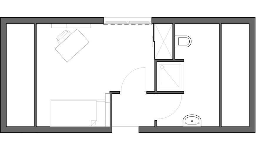 Evolution possible : une chambre d'enfant et une salle de bain séparée.