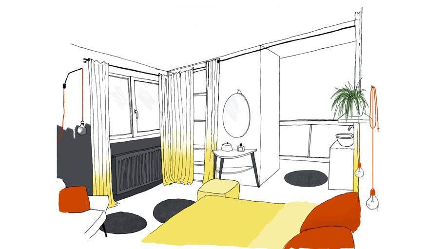 La chambre revue par l'architecte, avec derrière la cloison, une nouvelle salle de bain.