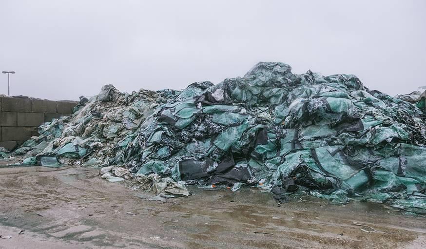Les pare-brise avant qu'ils soient recyclés.