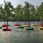 Vue d'artiste de la forêt flottante qui sera inaugurée le 16 mars 2016, à Rotterdam.