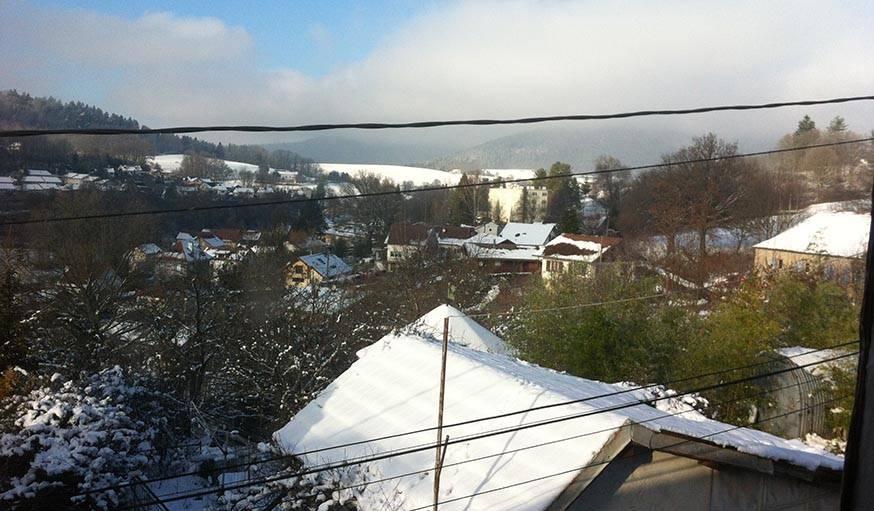 Jusqu'à ce que le soleil revienne et fasse fondre le blanc manteau. Saint-Dié-Des-Vosges (Vosges), le 20 janvier.