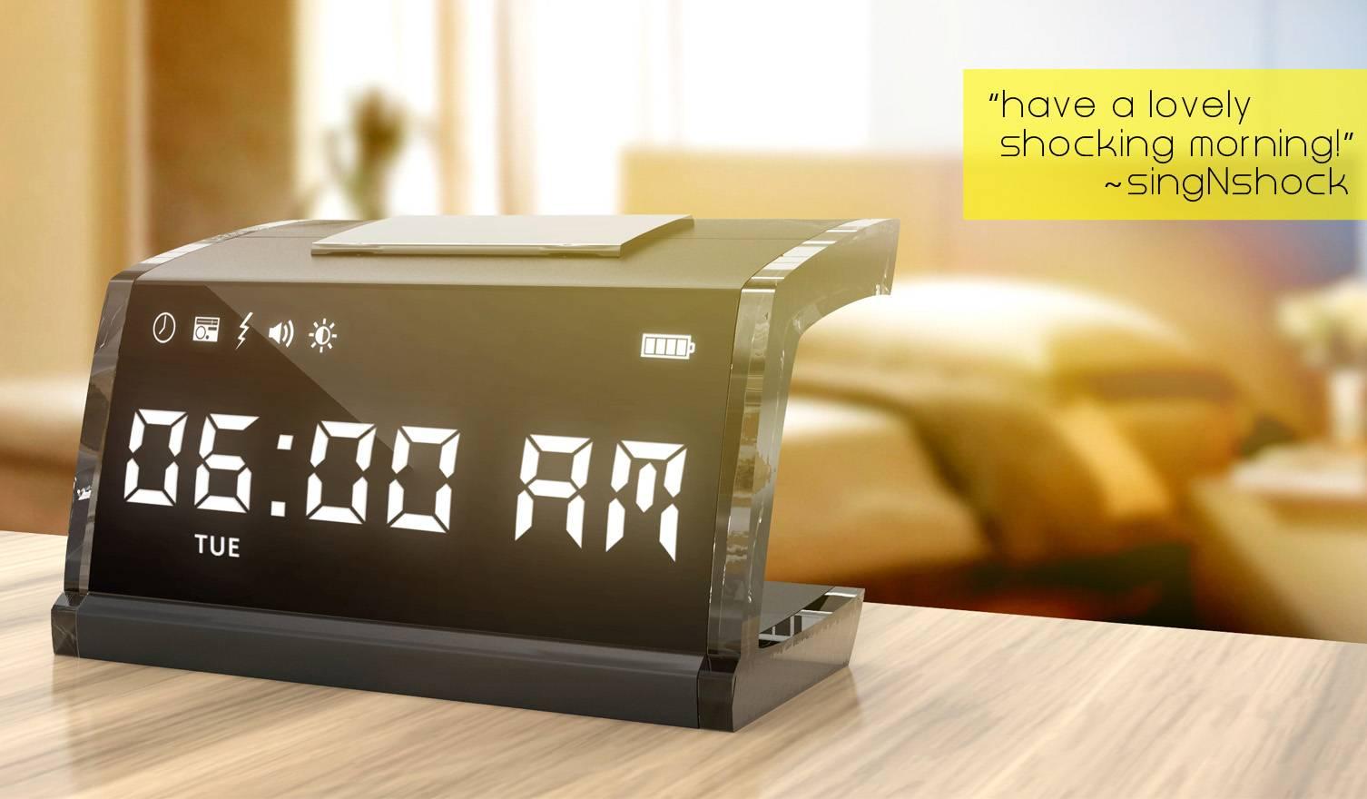 Lorsque vous appuyerez sur votre réveil, une mini décharge électrique vous poussera hors de votre lit