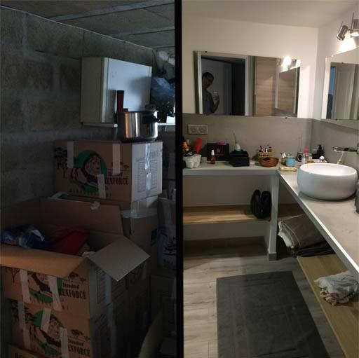 Le cellier a été transformé en salle de bain, avec une douche à l'italienne, que l'on ne voit pas sur la photo.
