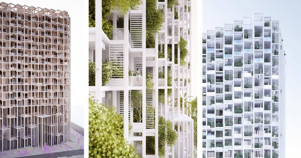 La façade de l'immeuble sur laquelle la végétation poussera.