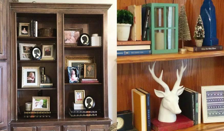 Exemples de bibliothèques décoratives réalisées par Flavie Kennon.