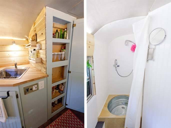 Les meubles et la douche s'adaptent à la forme du bus.