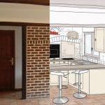 Avant : une cuisine en briques rouges. Après : une cuisine ouverte et lumineuse.