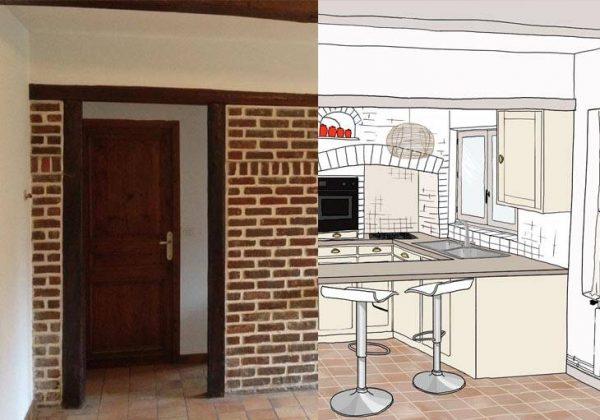 Rénovation cuisine : repeindre des briques et créer une ...