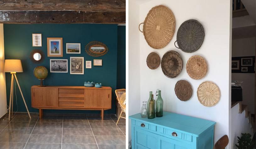 Nuances de bleu et accessoires disposés sur les murs.