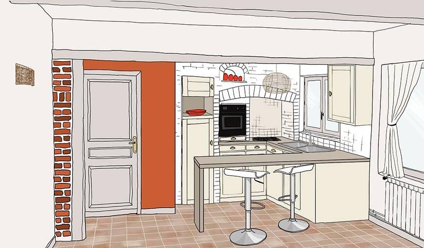 R novation cuisine repeindre des briques et cr er une for Creer une cuisine ouverte