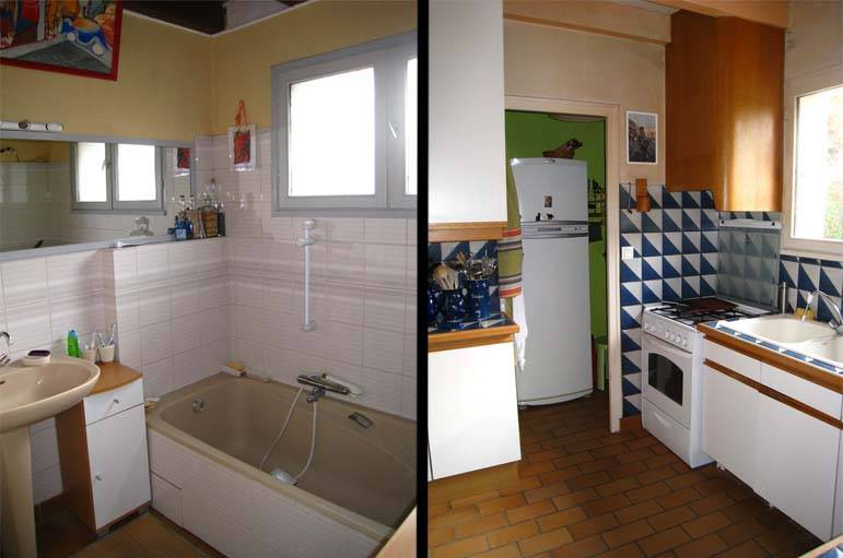 La salle de bain et la cuisine avant les travaux.