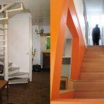 L'escalier avant et après travaux.