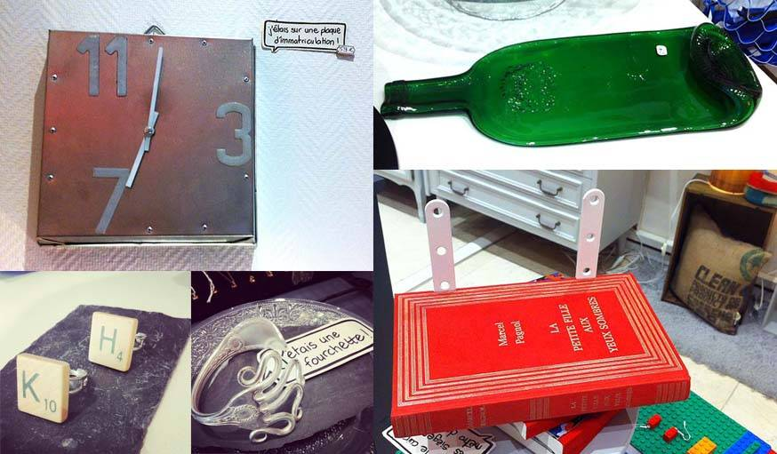 Chez Pirouette on peut trouver : une horloge faite à partir d'un plat à gâteau, un plat apéritif qui était autrefois une bouteille, des bagues en lettre de scrabble, un livre étagère, un bracelet fourchette.
