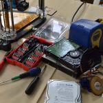 Imprimante 3D en kit, sur le stand d'eMotion Tech au FabLab Festival de Toulouse, en mai 2016.