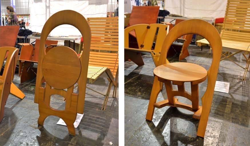 La chaise pliante fabriquée par Christophe Roussel.