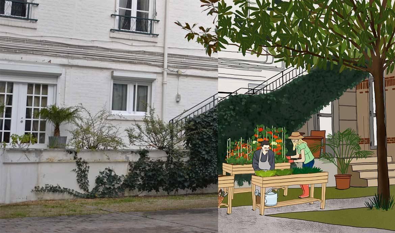 carr potager urbain jardin partag entre voisins potager sur lev dans une cour. Black Bedroom Furniture Sets. Home Design Ideas