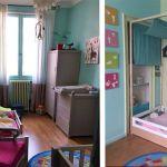 La chambre des fillettes avant et après réaménagement.