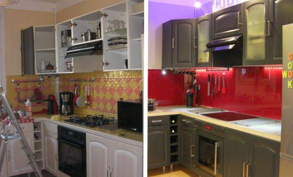 Avant / Après : une cuisine moderne en rouge et gris