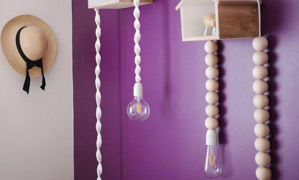 DIY : fabriquer des lampes baladeuses en macramé et en bois