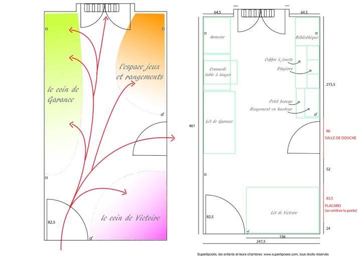 Le plan de la nouvelle chambre par Aurélie Guitteny.