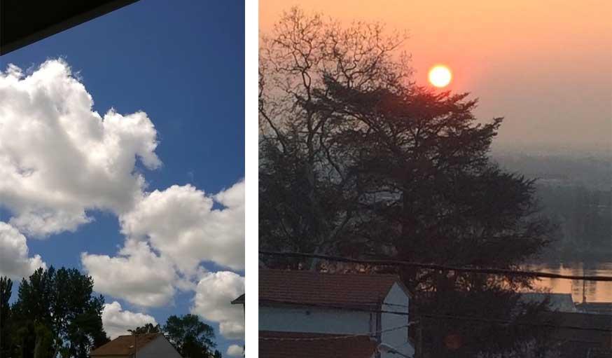 Un ciel bleu parsemé de nuages à Guimps (Charente) et un levé de soleil à Lyon.