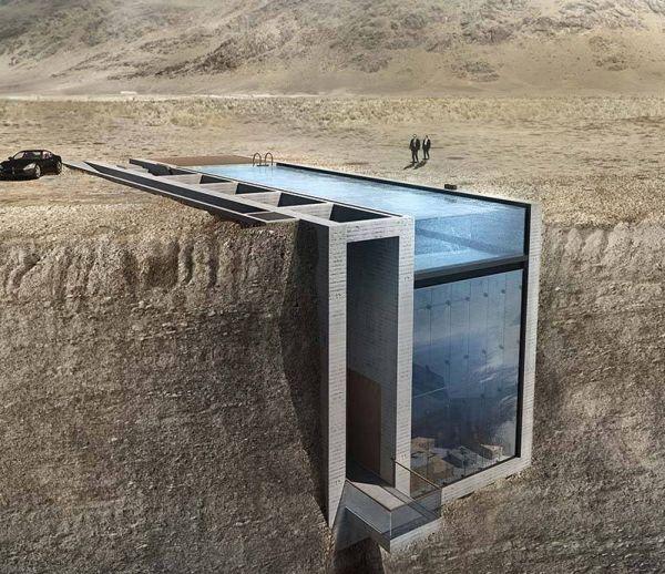 Une maison construite au bord du vide