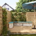 Clôture en bois avec panneaux droits BLOOMA Onora et panneaux végétaux.