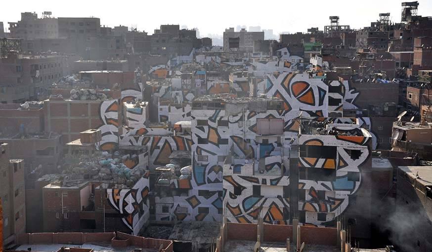 Immeubles relookés par El seed au Caire, en Égypte.