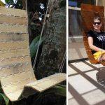 Deux exemples de fauteuil suspendu en palette.
