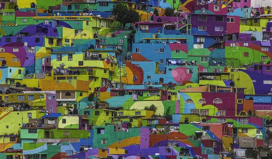 El macromural de pachuca au Mexique par le collectif Germen Crew.