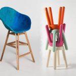 Chaises et tabourets fabriqués à partir de déchets industriels.