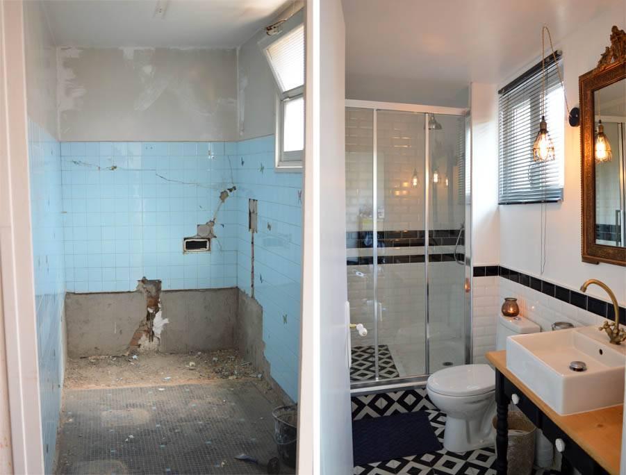 avant apr s salle de bains au look r tro am nager une petite salle de bains. Black Bedroom Furniture Sets. Home Design Ideas