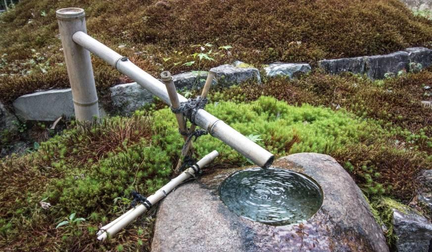 La fontaine du jardin d'Azumi San.