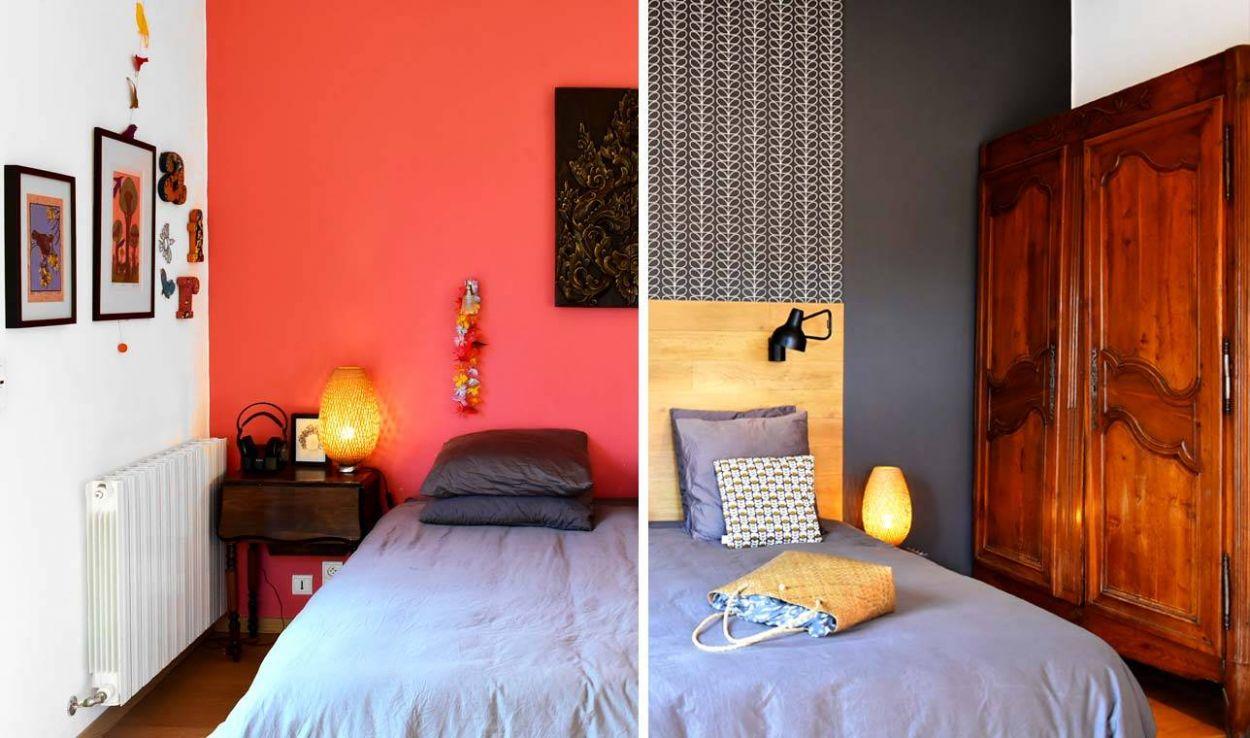 d co chambre adulte avant apr s oser le gris chic et le papier peint. Black Bedroom Furniture Sets. Home Design Ideas
